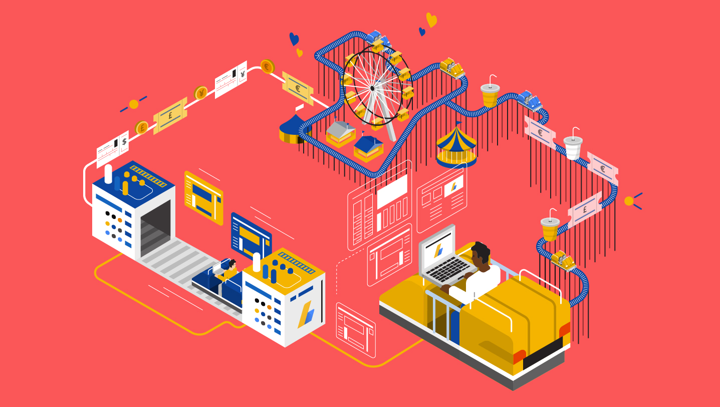 Adsense – Screensaver – Isometric route – Theme park story – Illustration – RGB – Revised-01